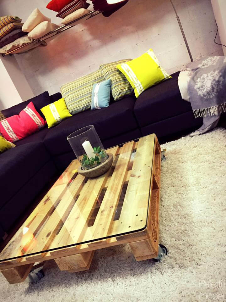 custom one pallet coffee table with wheels
