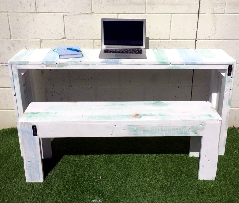 custom white pallet outdoor laptop table with matching white bench