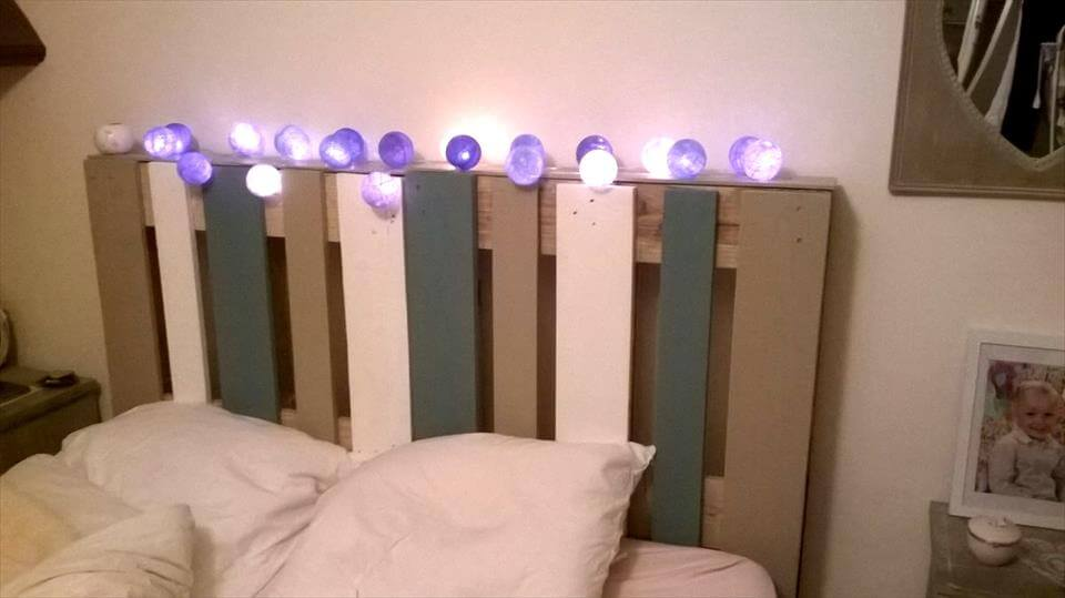 painted pallet headboard with lights