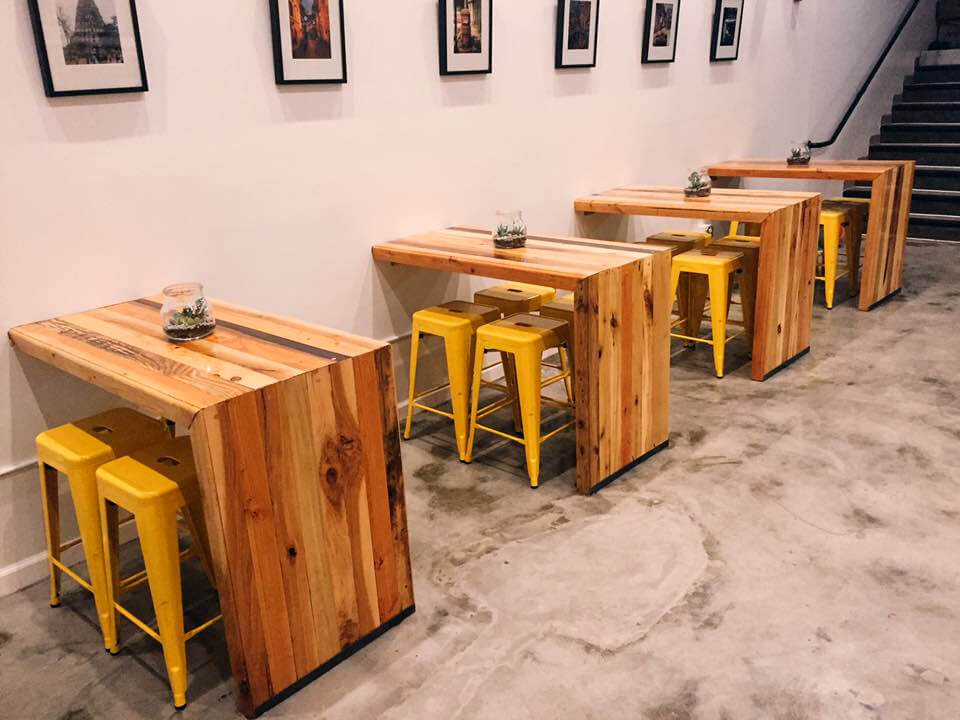 handcrafted wooden pallet L-shape tables