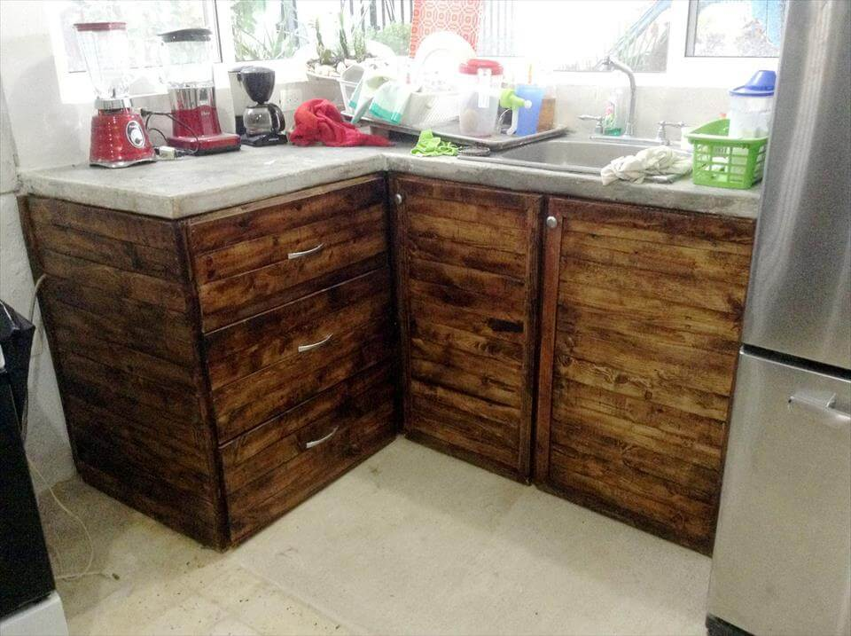 upcycled pallet and marble kitchen