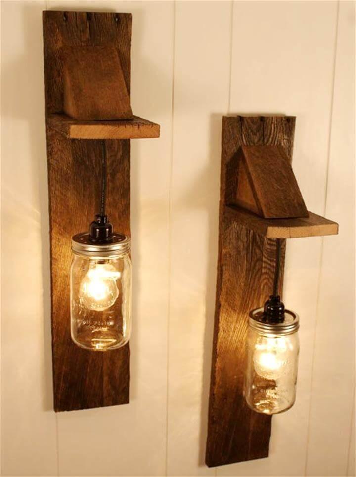 pallet and mason jar wall light