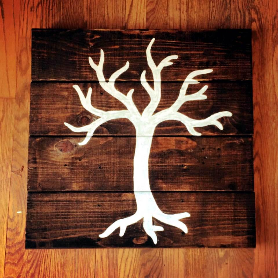 pallet wood autumn tree wall art