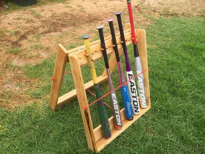 repurposed pallet base ball rack