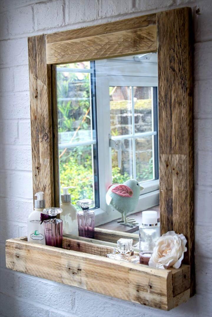 rustic wooden pallet bathroom wall mirror with shelf