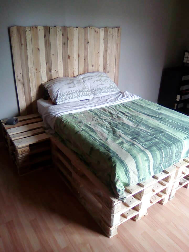recycled pallet bed with headboard and nightstand