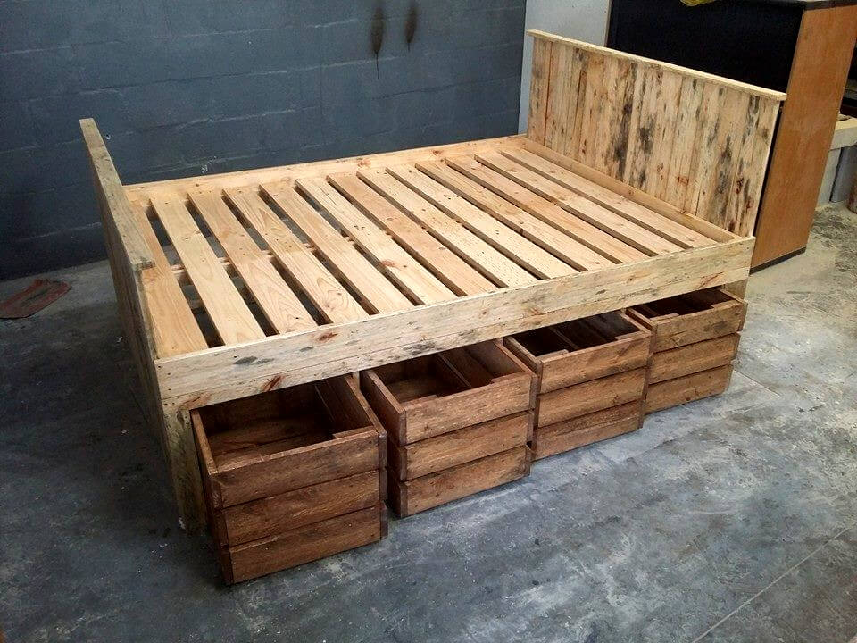 pallet bed with underside storage crates