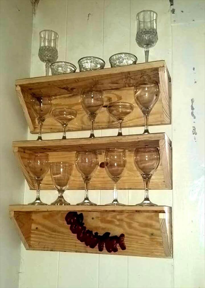 handmade pallet beverage glass shelves
