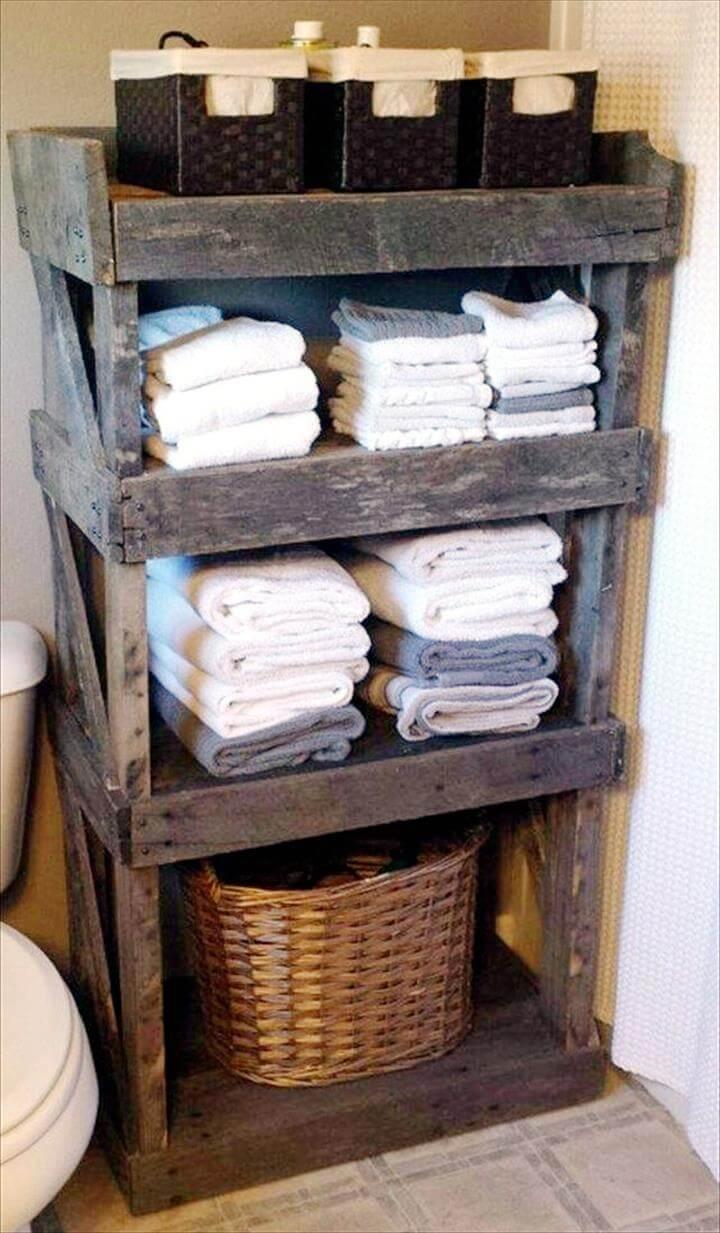 diy pallet blanket storage rack