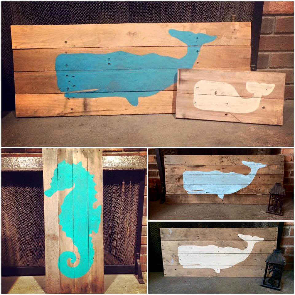 wooden pallet blue whale and seahorse wall art pieces