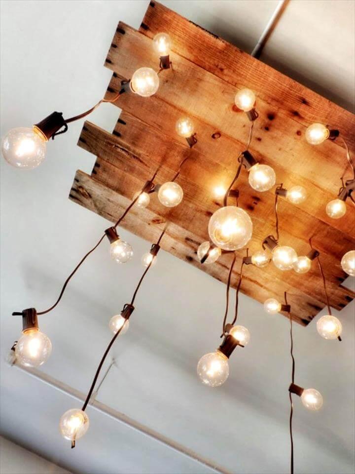 reclaimed pallet ceiling chandelier