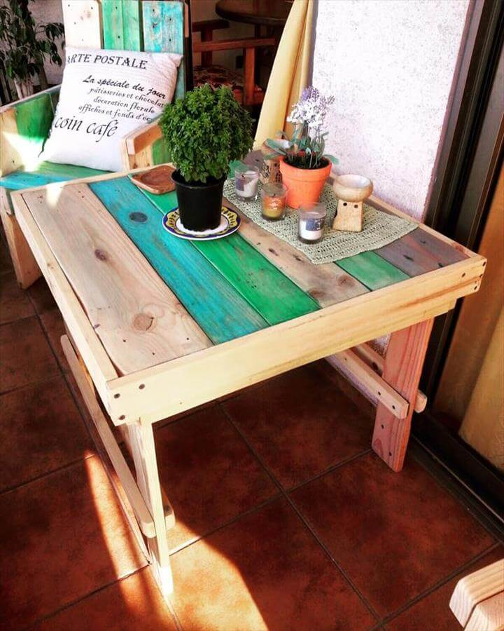 low cost pallet side table and chair set