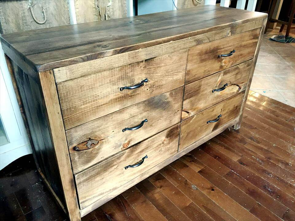 handcrafted wooden pallet chest of drawers