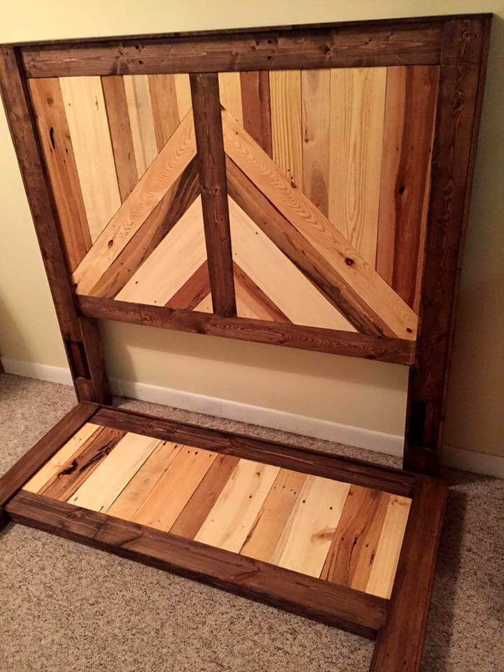 upcycled pallet headboard and footboard set