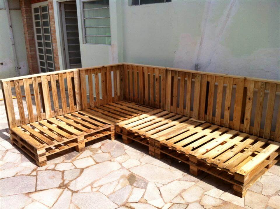 handmade pallet sectional couch frame