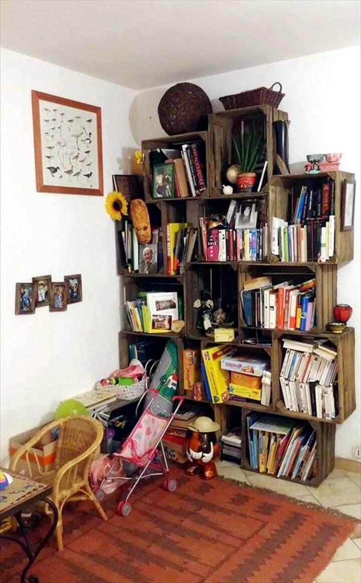 pallet crate style bookshelf