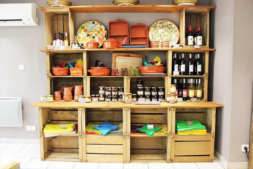 custom pallet crate wall shelves
