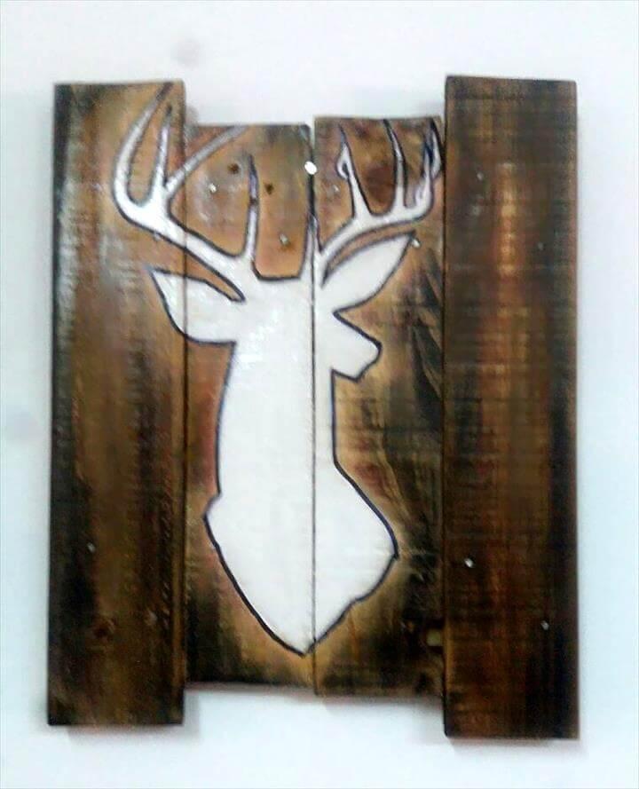 pallet dear head wall art
