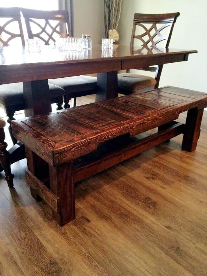 handmade pallet dining bench