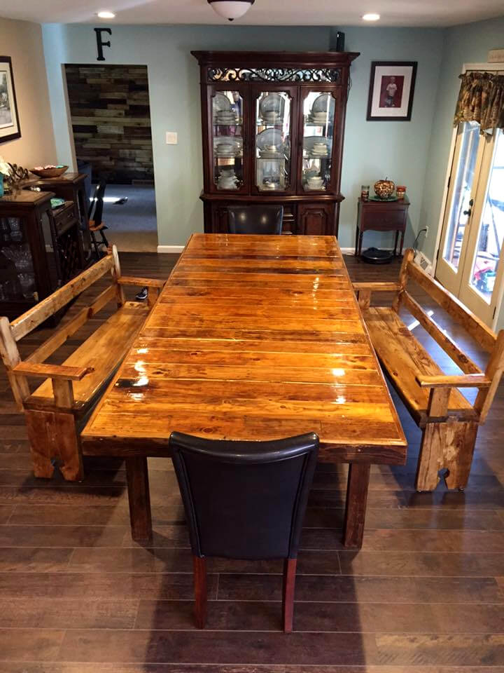 XL pallet sleek dining table with matching benches and chairs