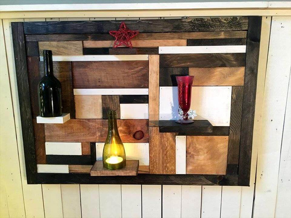 art style pallet wall display shelving unit
