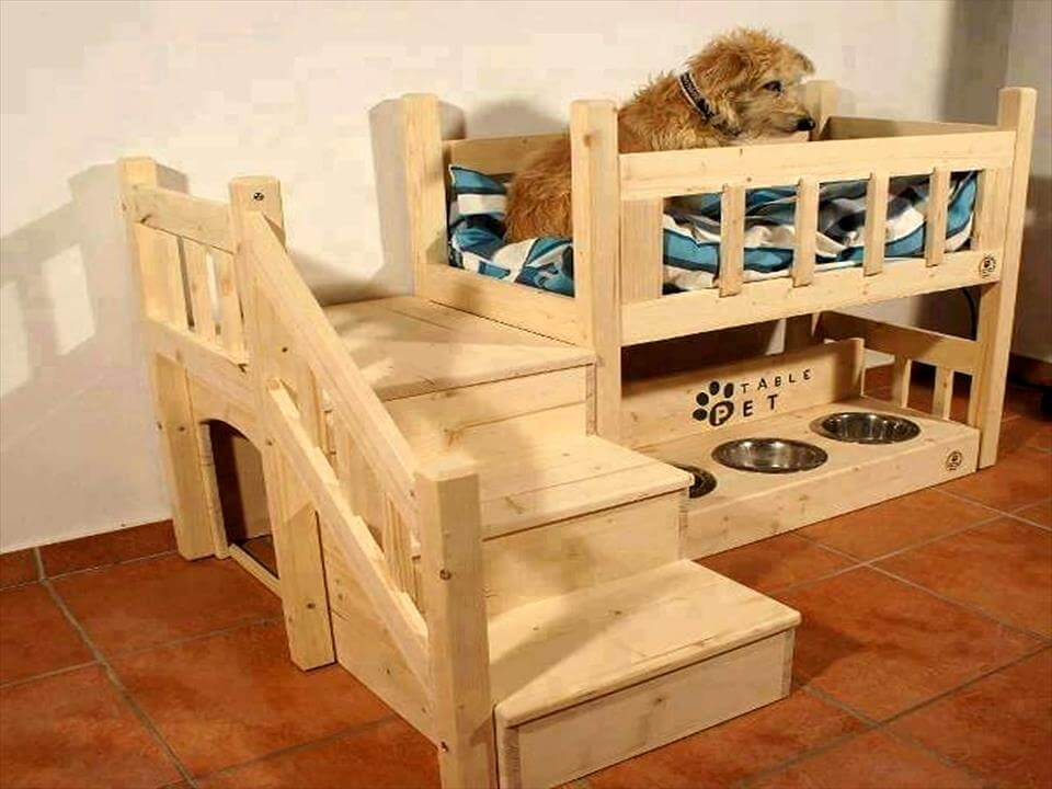 custom pallet dog bed with dog feeder