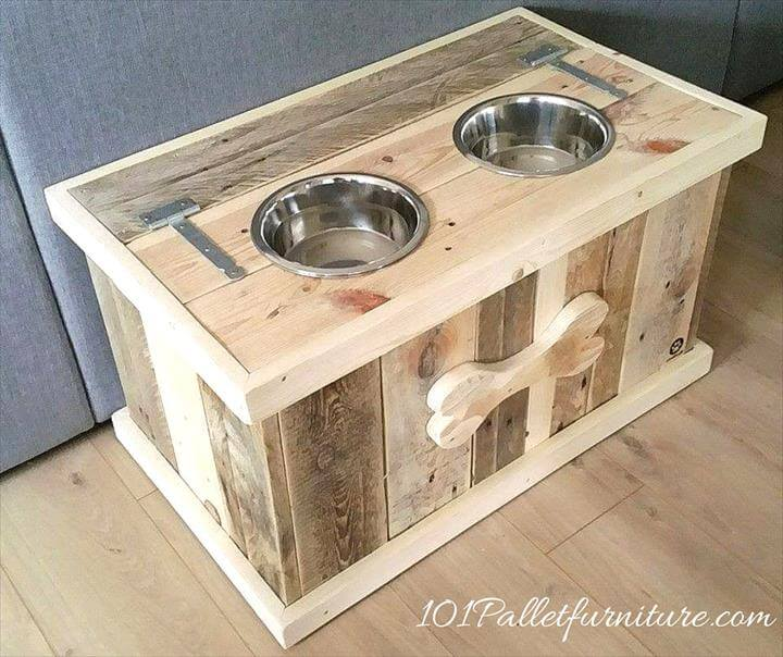 pallet dog bowl holder with storage