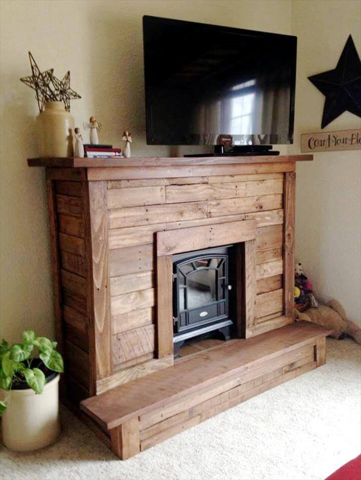 diy pallet faux fire place and TV stand