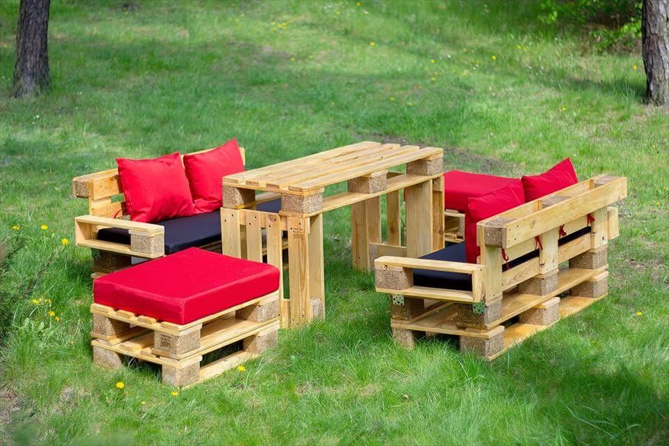 no-cost pallet garden sitting furniture set