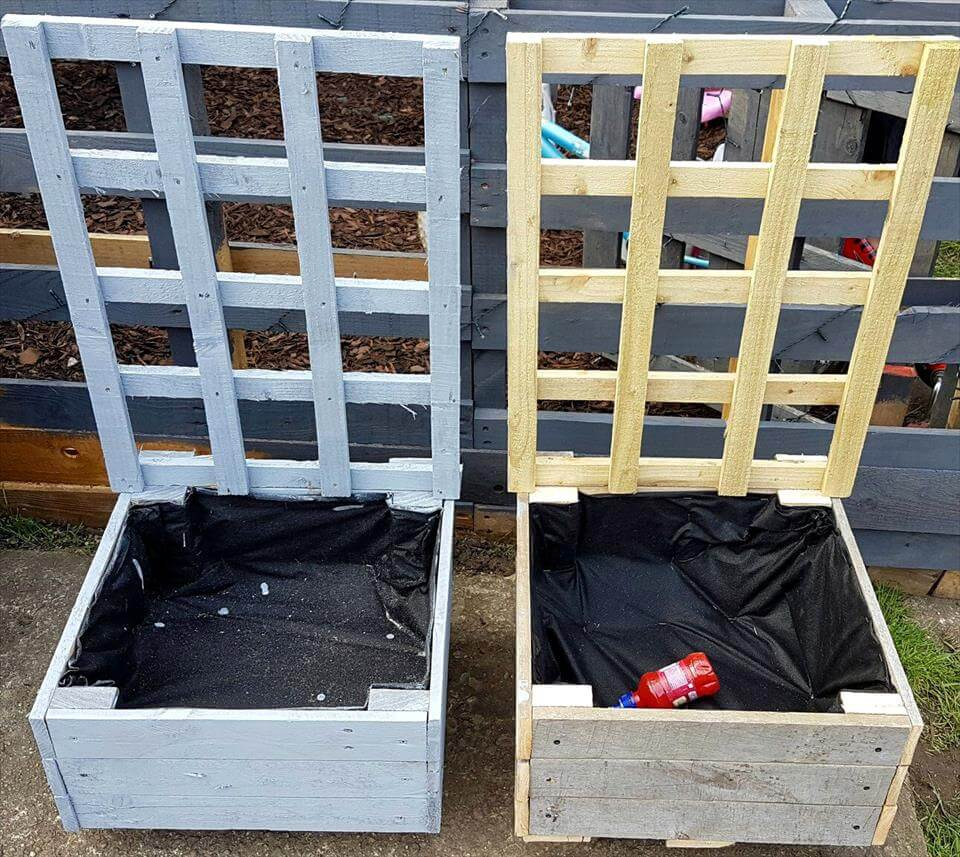 pallet planter with trellis or hall trees