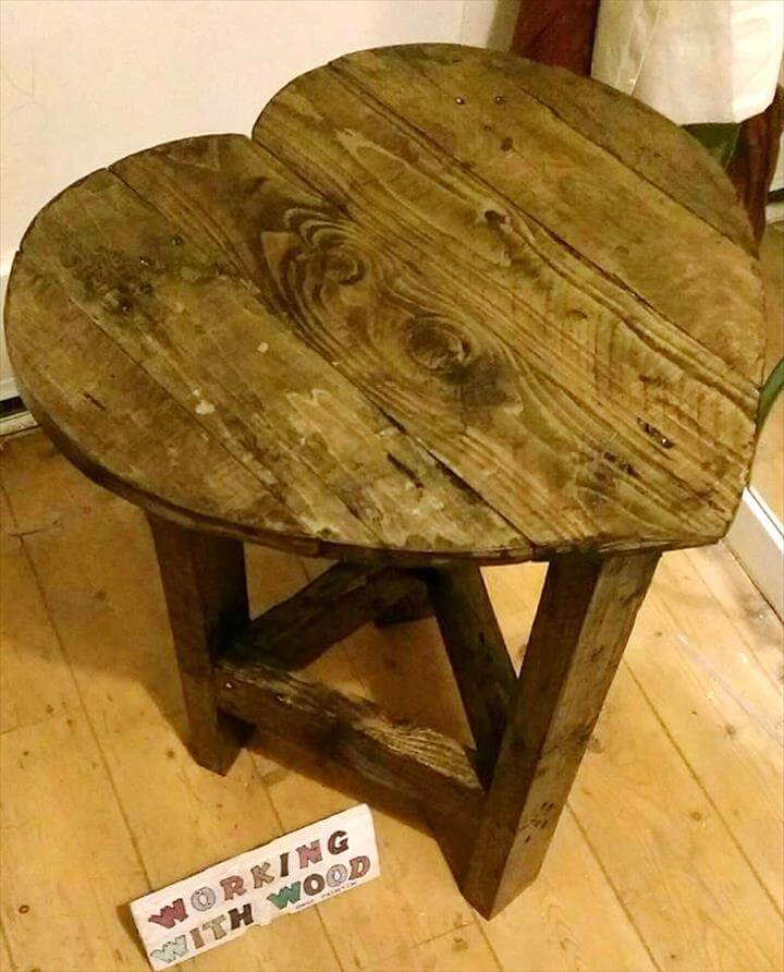 handmade pallet heart shape side table