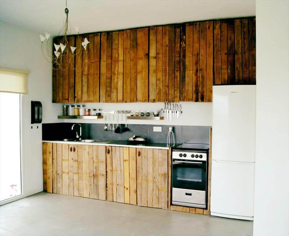 wooden pallet kitchen wall cladding