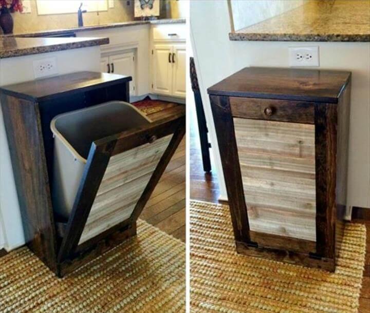 custom pallet kitchen trash bin holder