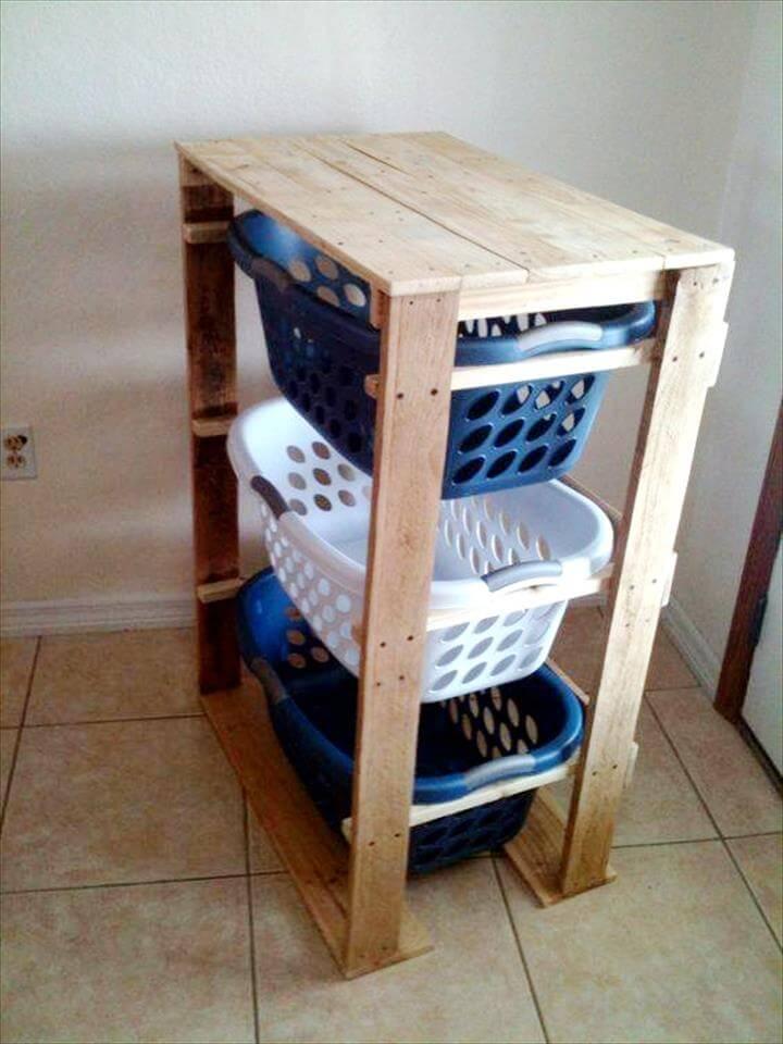 handmade wooden pallet laundry room dresser