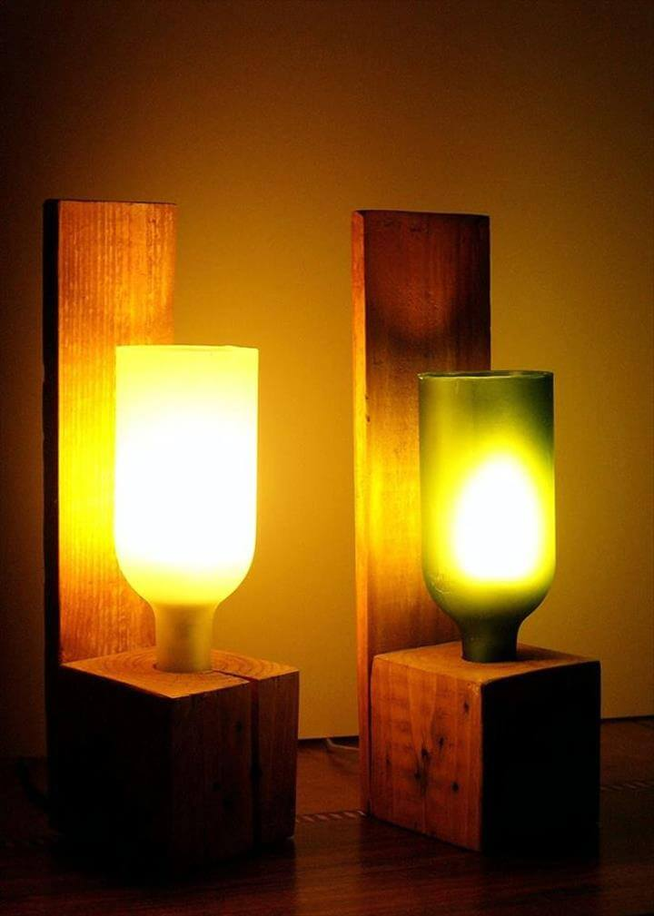 low-cost wooden pallet lamps