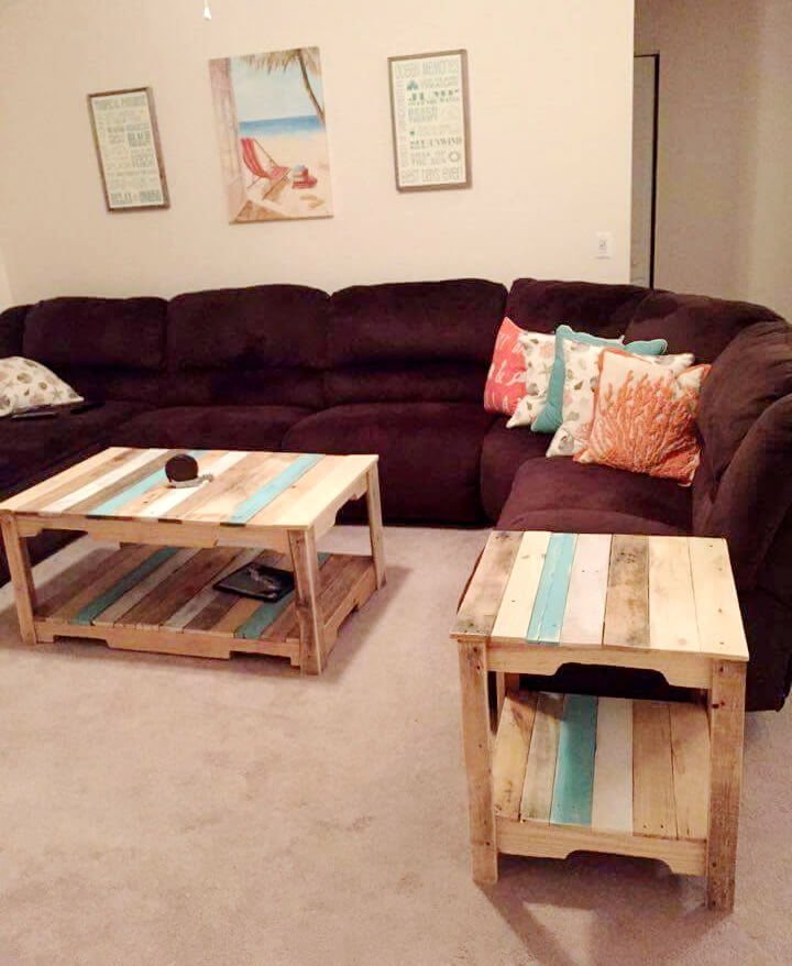 handmade pallet living room coffee table and side table set