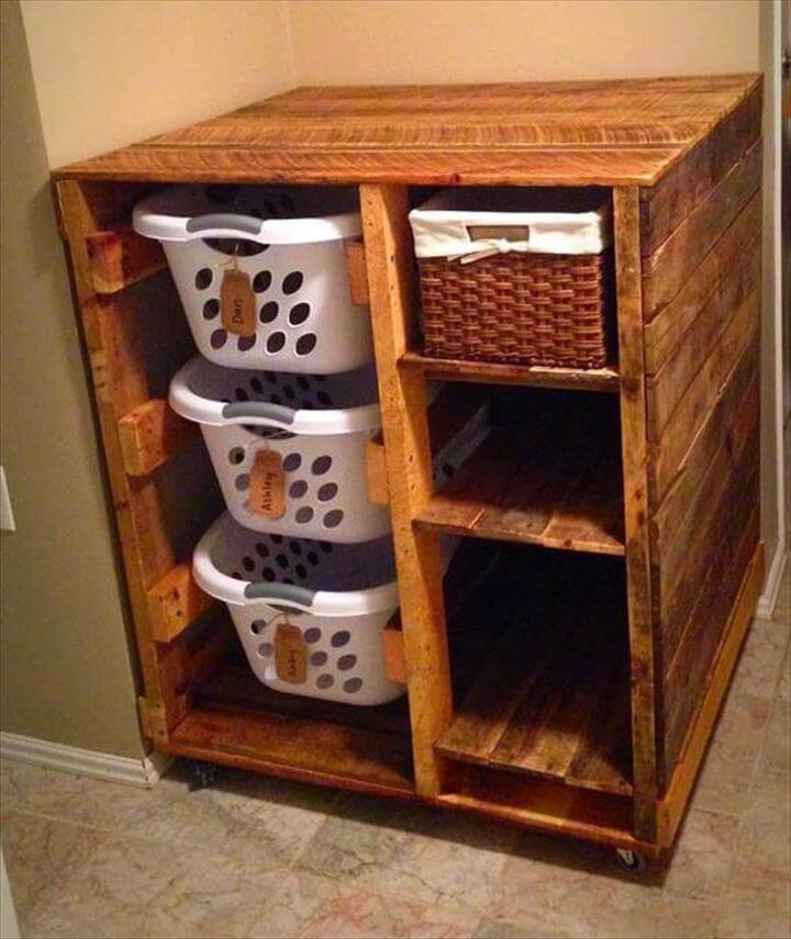 upcycled wooden pallet laundry room dresser