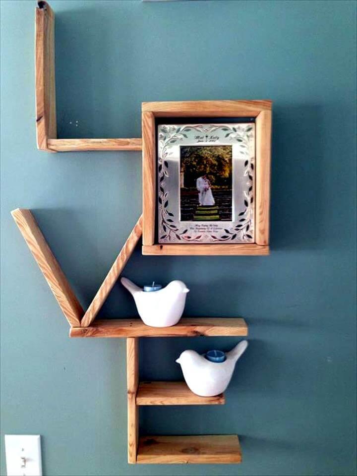 diy pallet love wall display shelves