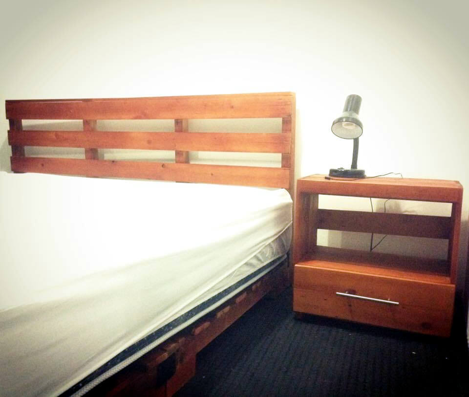 pallet bed, nightstand and headboard