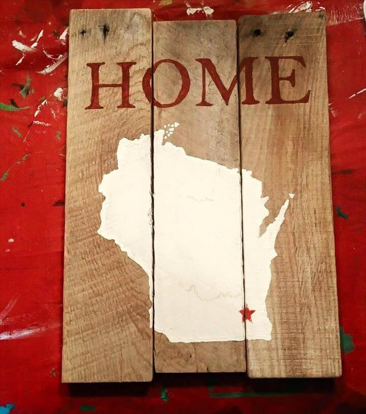 upcycled pallet home map wall art