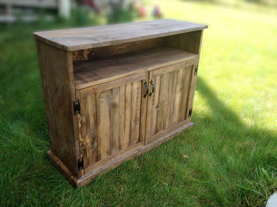 custom built with pallet TV console or media cabinet