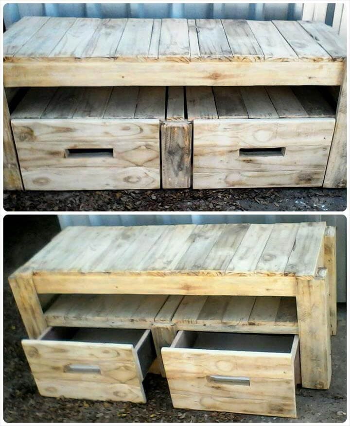 mini wooden pallet media stand or TV cabinet with 2 drawers