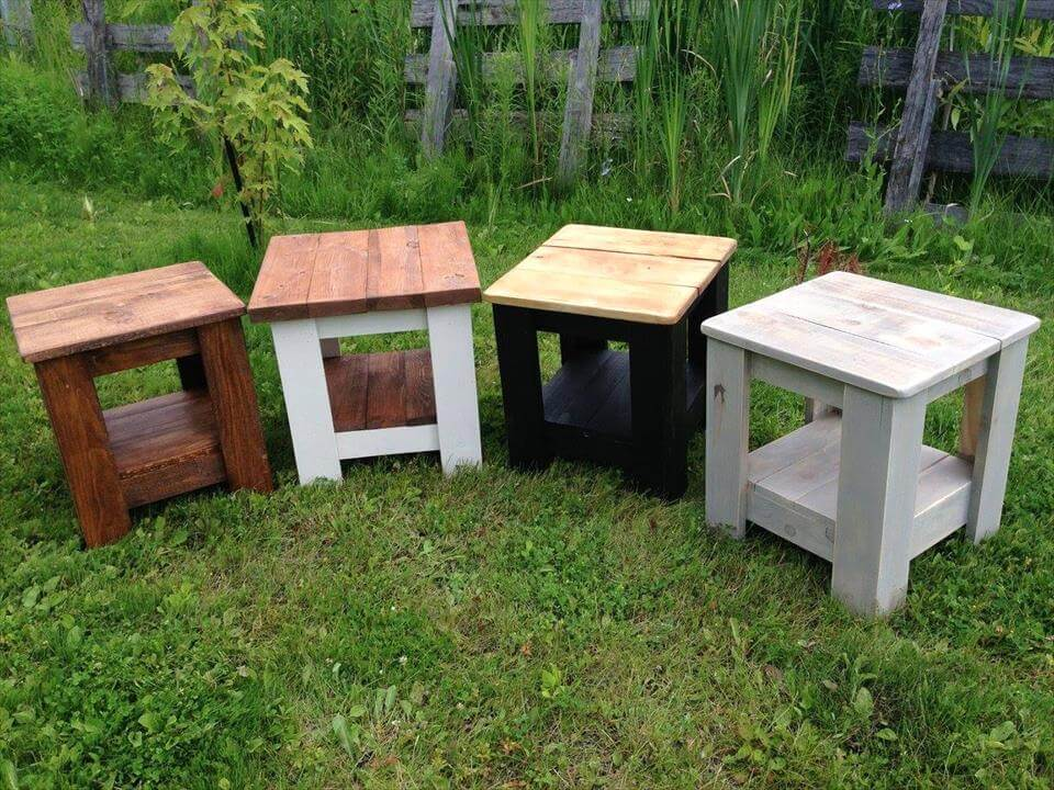 handmade mini pallet end tables or stools