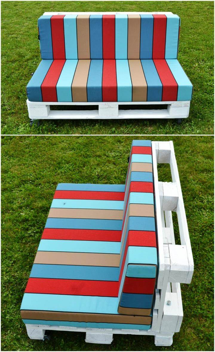 handmade wooden pallet cushioned outdoor seats