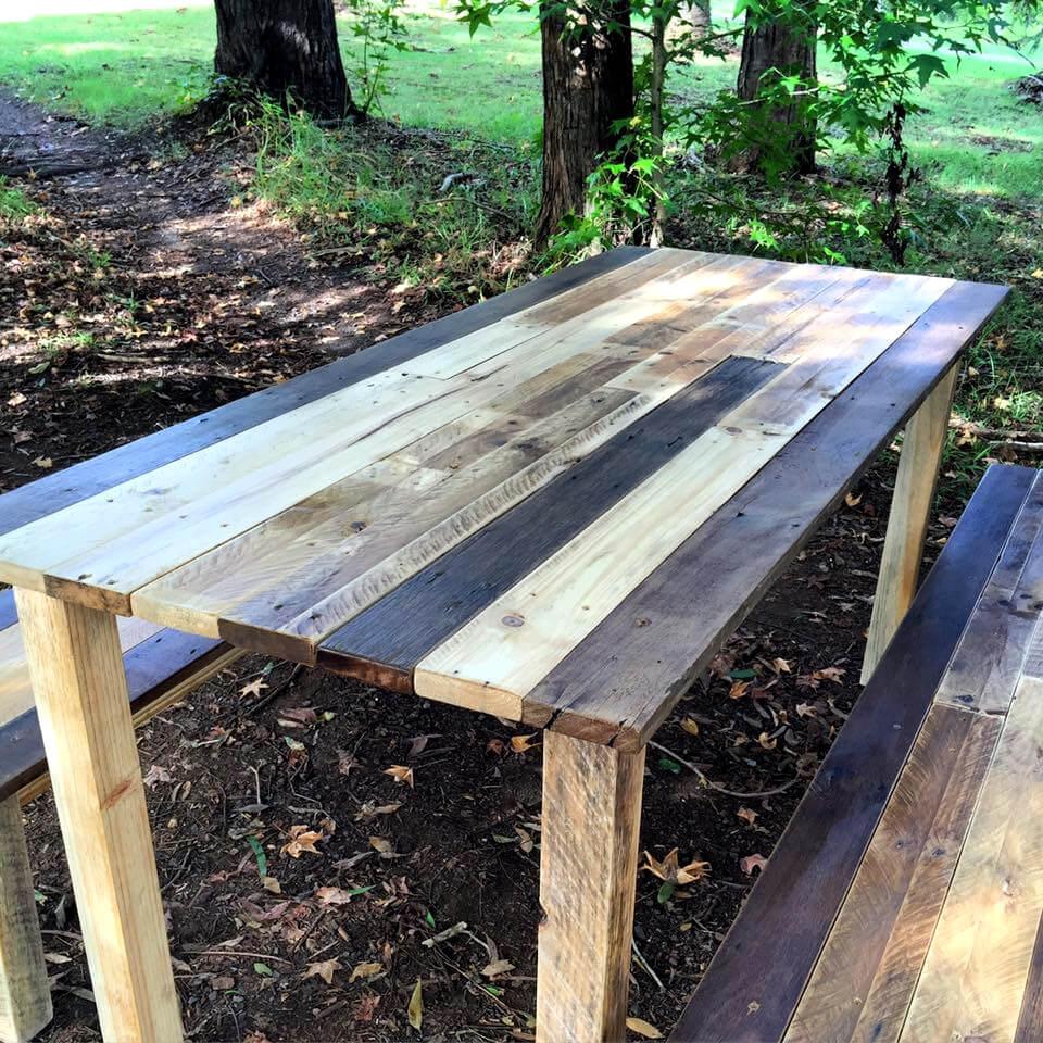 handmade wooden pallet dining table