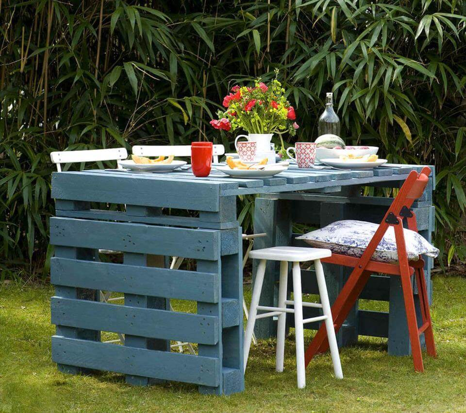 wooden pallet garden picnic table or dining table