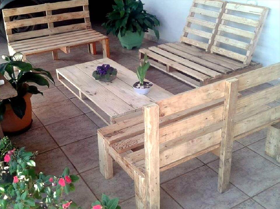 robust wooden patio sitting furniture set