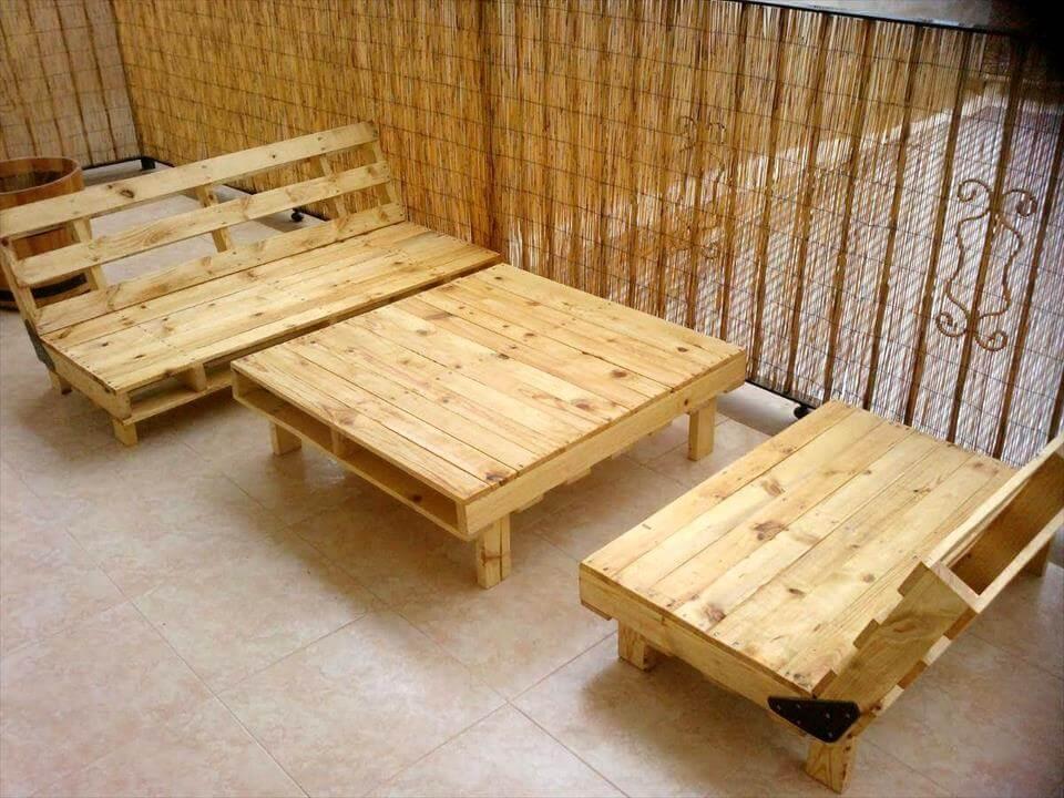 custom wooden pallet patio set