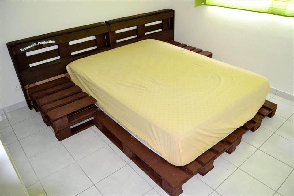 handmade wooden pallet platform bed