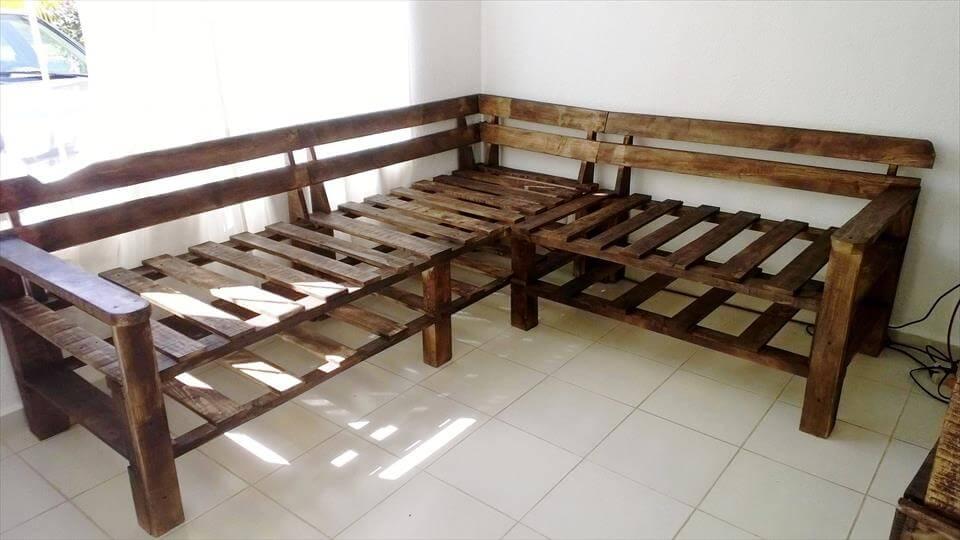 custom robust wooden pallet sofa frame